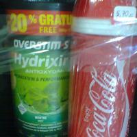Boisson overstim hydrixir menthe et bidon coca cola