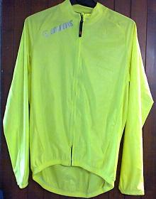 Veste impermeable ondabike jaune fluo vue devant